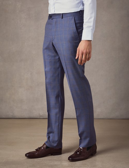 Men's Mid Blue Ombre Check Tailored Fit Italian Suit Trousers – 1913 Collection