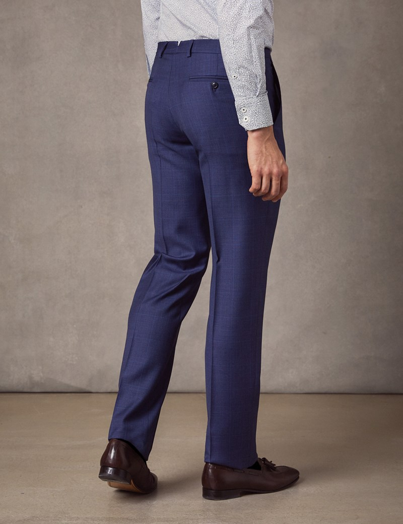 Men's Indigo Prince Of Wales Check Tailored Fit Italian Suit Trousers – 1913 Collection