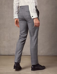 Men's Light Grey Medium Check Slim Fit Italian Suit Trousers – 1913 Collection