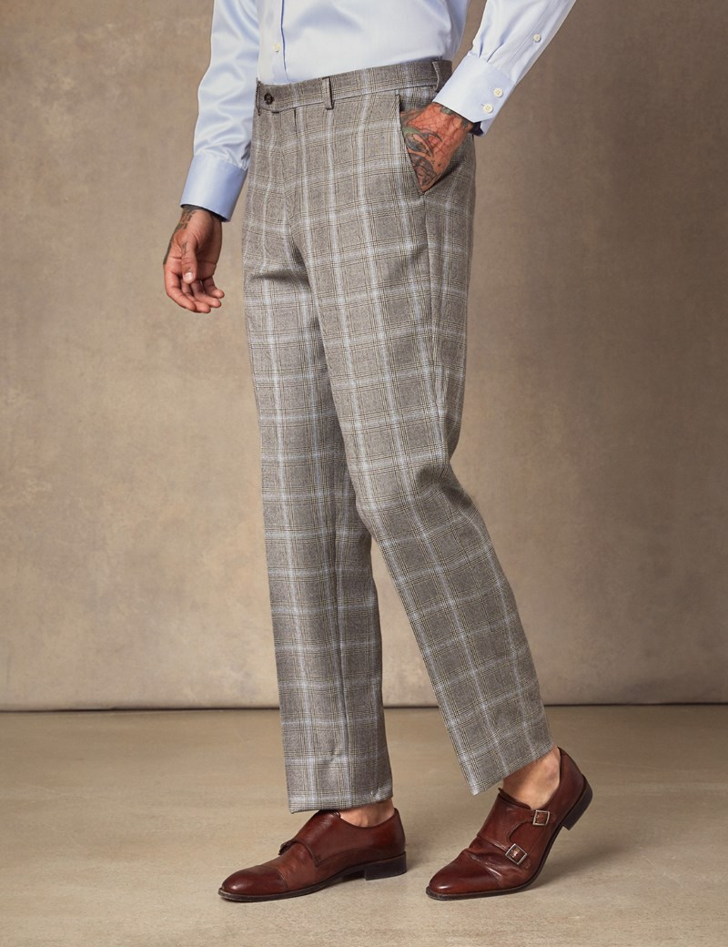 Men's Brown & Blue Over Plaid Tailored Fit Italian Suit Pants – 1913 Collection