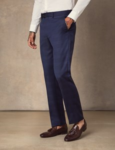 Men's Dark Blue Prince Of Wales Check Slim Fit Italian Suit Trousers – 1913 Collection