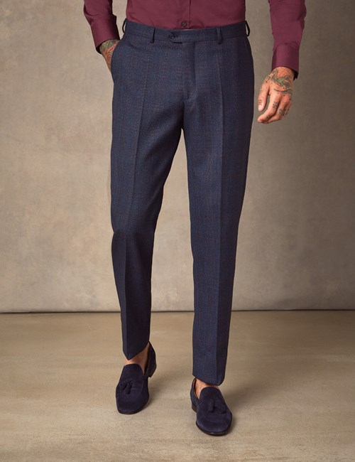 Men's Navy & Red Windowpane Check Tailored Fit Italian Suit Trousers – 1913 Collection
