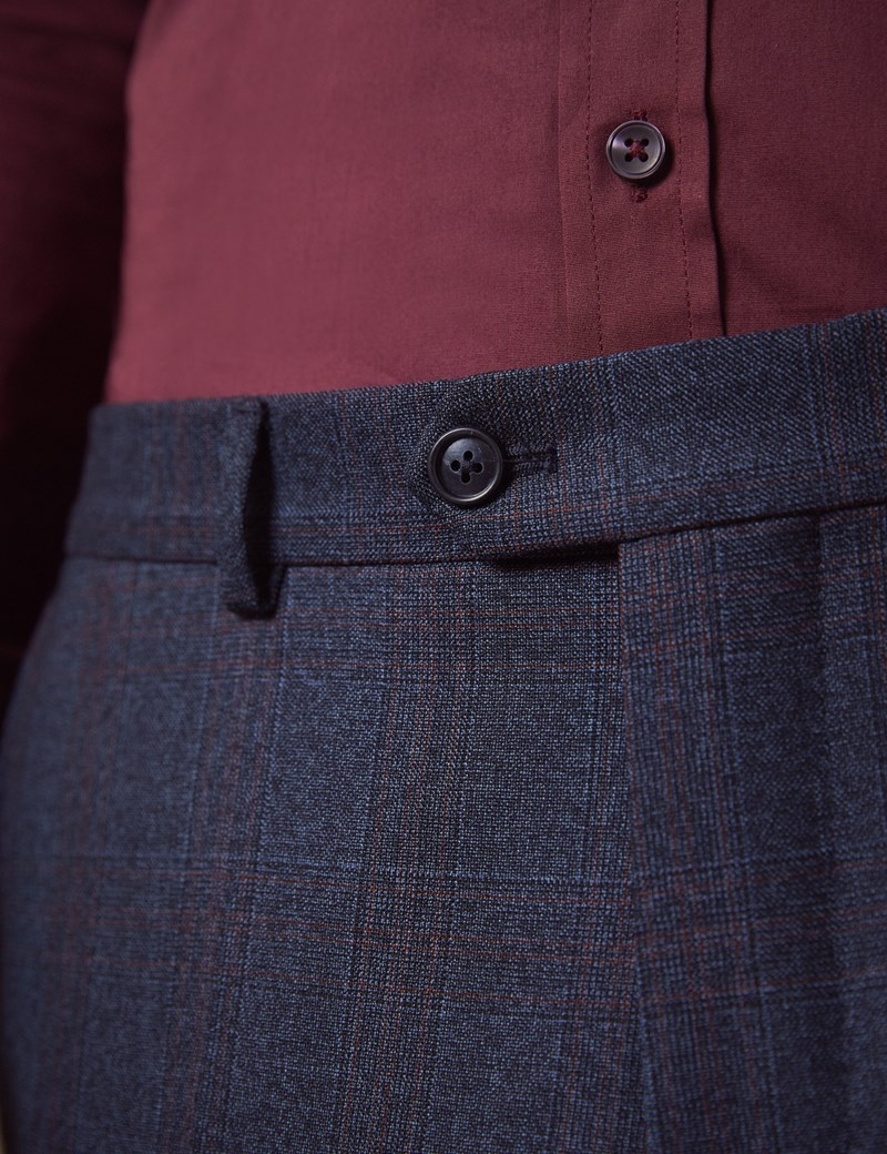 Men's Navy & Red Windowpane Plaid Tailored Fit Italian Suit Pants – 1913 Collection