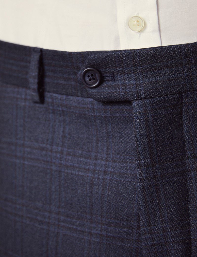Men's Dark Blue Shadow Check Tailored Fit Italian Suit Trousers – 1913 Collection