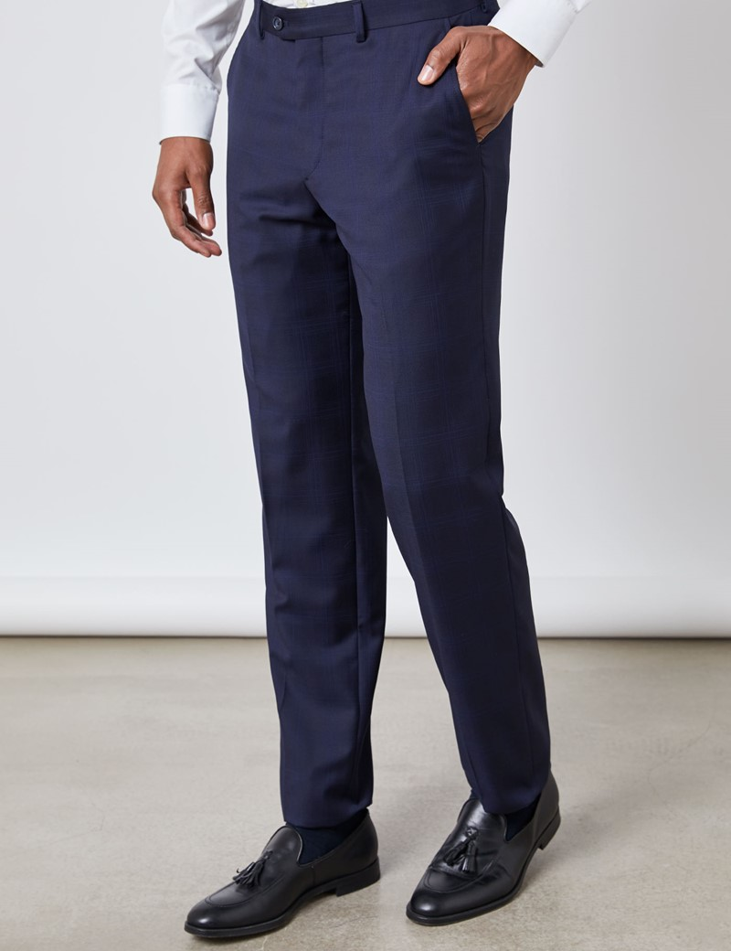 Men's Navy Prince Of Wales Check Tailored Fit Italian Suit Trousers – 1913 Collection