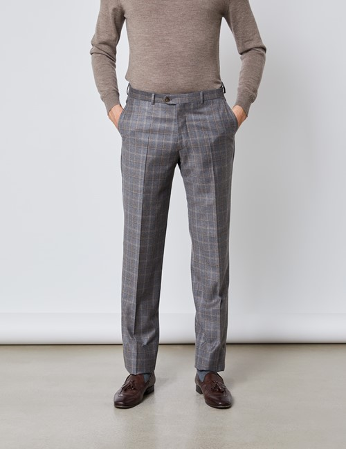 Men's Grey & Brown Subtle Check Tailored Fit Italian Suit Trousers – 1913 Collection