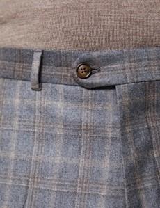 Anzughose - Tailored Fit - Grau & braun kariert - 130s Wolle - Ohne Bundfalte - Vorderhose Gefüttert - Ungesäumt