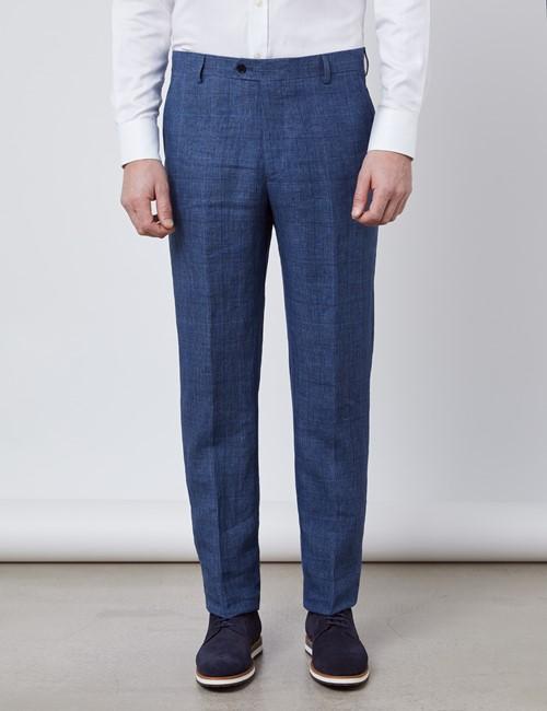 Men's Blue Check Linen Slim Fit Italian Suit Trousers