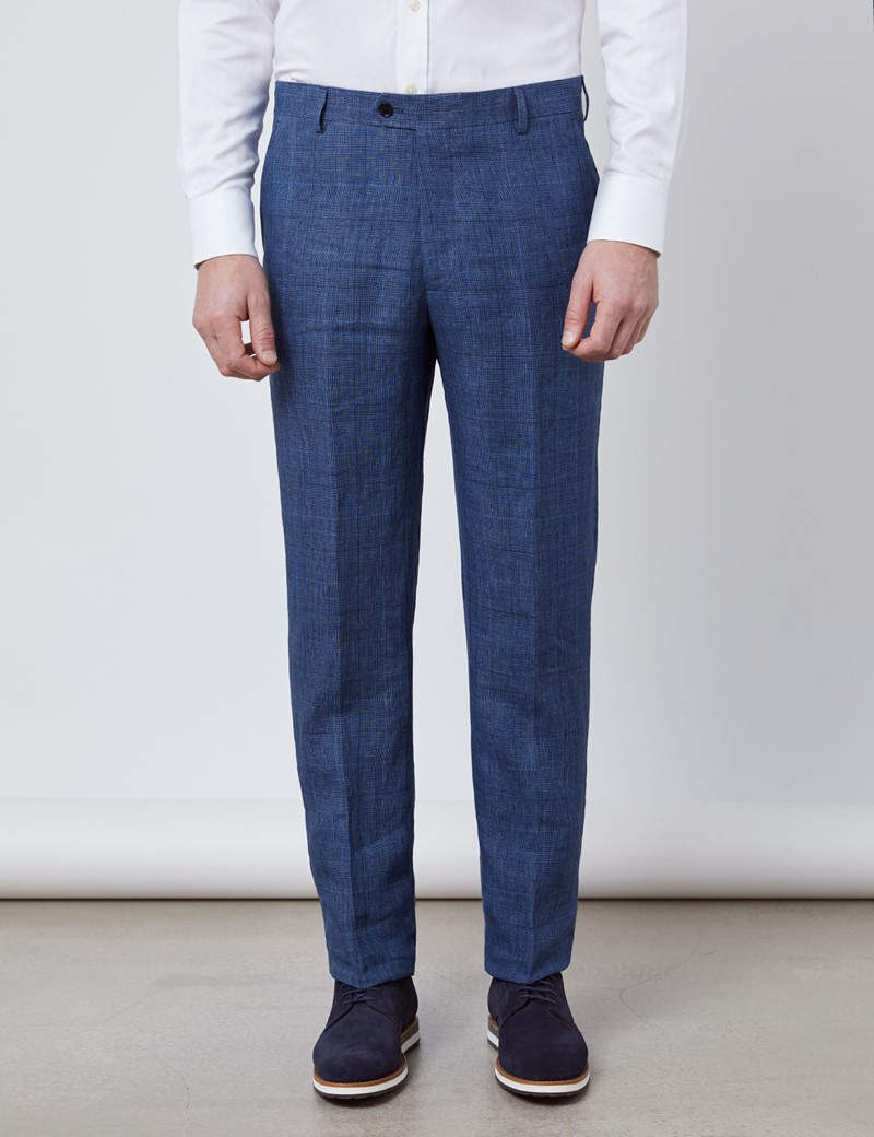 Men's Blue Check Linen Slim Fit Italian Suit Trousers