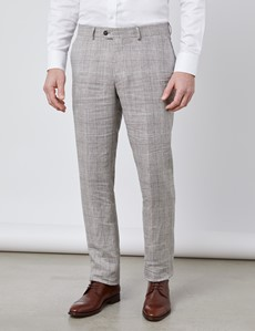 Men's Brown Check Linen Slim Fit Italian Suit Trousers - 1913 Collection