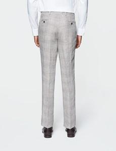Leinenhose – Tailored Fit – ungesäumt – ohne Bundfalte – Karo Grau