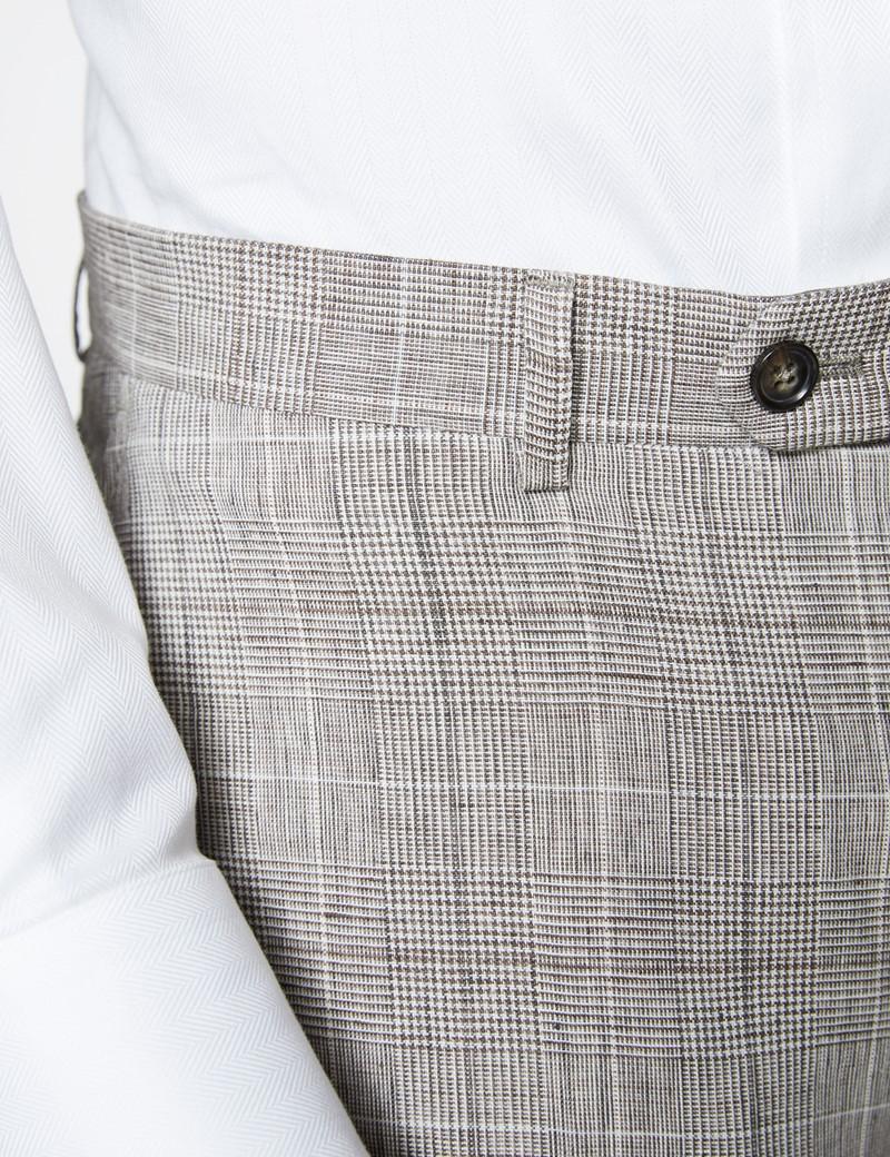 Men's Brown Check Linen Slim Fit Italian Suit Trousers