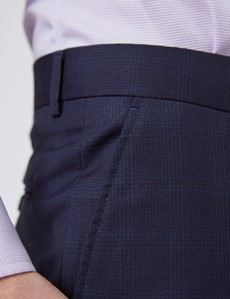 Men's Navy Tonal Check Tailored Fit Italian Suit Trousers - 1913 Collection
