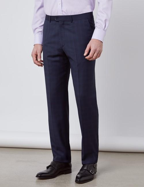 Anzughose - Tailored Fit - Dunkelblau feines Karo - 110s Wolle - Ohne Bundfalte - Vorderhose Gefüttert - Ungesäumt