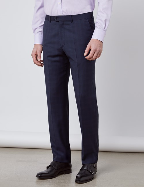 Men's Navy Tonal Plaid Tailored Fit Italian Suit Pants - 1913 Collection