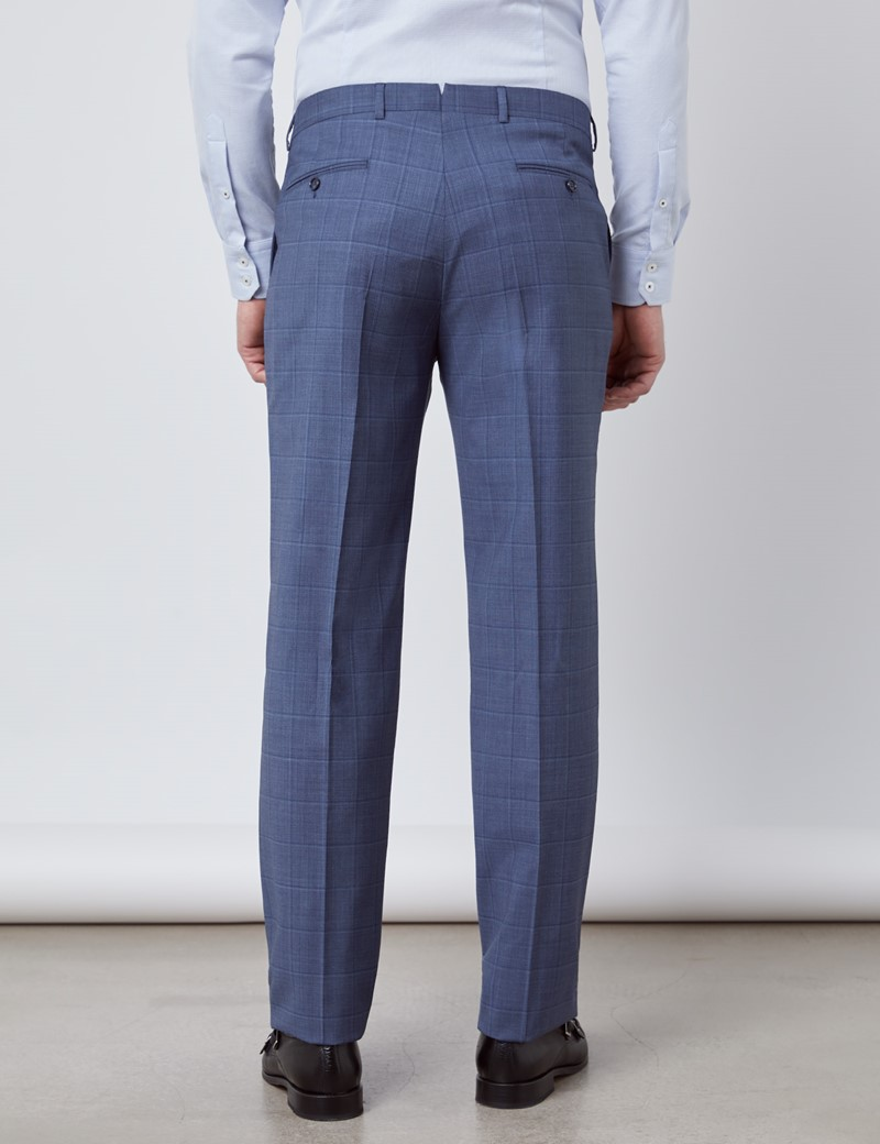 Men's Blue Tonal Plaid Tailored Fit Italian Suit Pants - 1913 Collection