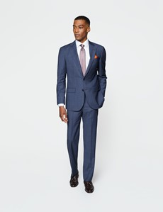 Men's Blue Tonal Check Tailored Fit Italian Suit Trousers - 1913 Collection
