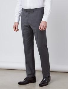Anzughose - Tailored Fit - Dunkelgrau Karo-Gitter - 130s Wolle - Ohne Bundfalte - Vorderhose Gefüttert - Ungesäumt