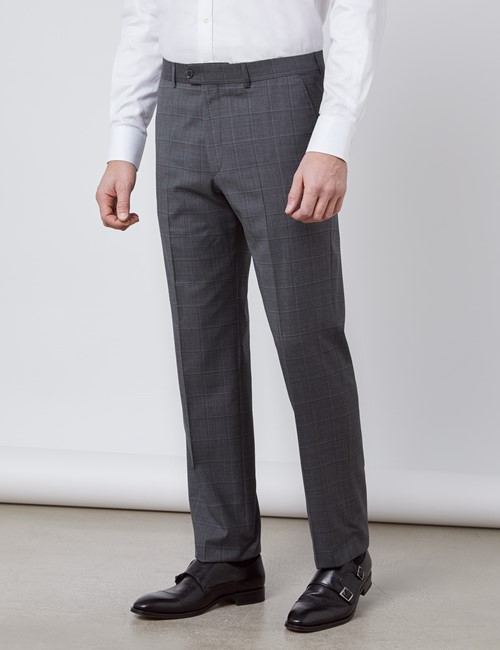 Men's Dark Gray Tonal Plaid Tailored Fit Italian Suit Pants - 1913 Collection