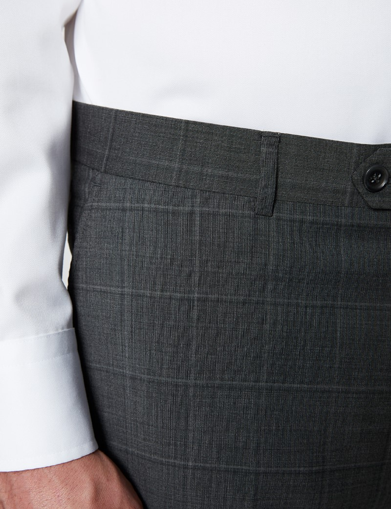 Men's Dark Grey Tonal Check Tailored Fit Italian Suit Trousers - 1913 Collection