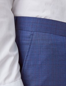 Men's Blue & Purple Grid Check Tailored Fit Italian Suit Trousers - 1913 Collection