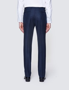 Men's Navy Prince Of Wales Check Tailored Fit Italian Suit Trousers - 1913 Collection