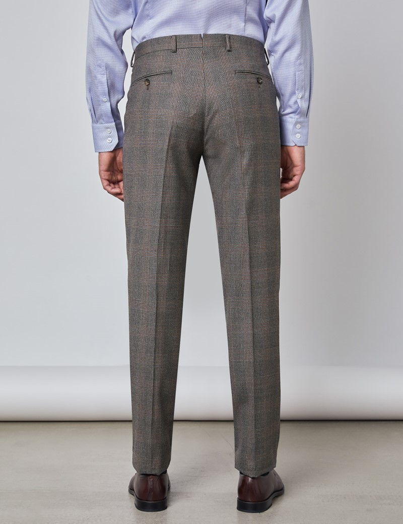 Men's Brown & Orange Prince Of Wales Check Tailored Fit Italian Suit Trousers - 1913 Collection