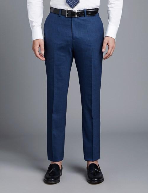 Anzughose - Classic Fit - Prince Of Wales dunkelblau - 100s Wolle - Ohne Bundfalte - Vorderhose Gefüttert - Ungesäumt