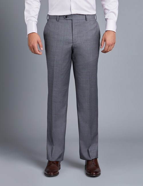 Men's Grey & Lilac Contrast Check Classic Fit Suit Trouser