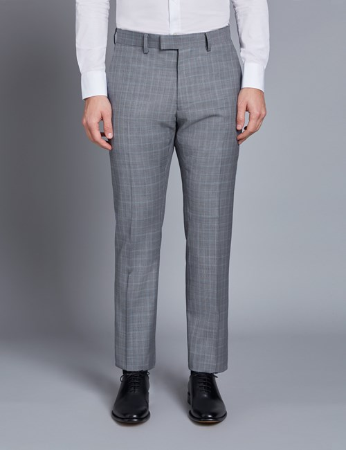 Men's Grey & Light Blue Small Check Extra Slim Fit Suit Trouser