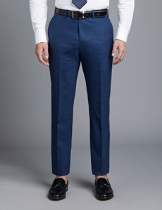 Men's Dark Blue Prince Of Wales Check Slim Fit Suit Pants With Contrast Overcheck