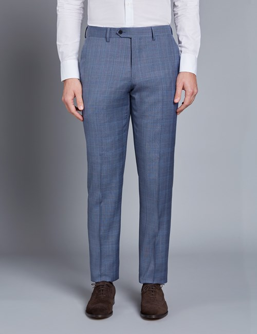Anzughose - Slim Fit - Prince of Wales Karo hellblau - 100s Wolle - Ohne Bundfalte - Vorderhose Gefüttert - Ungesäumt