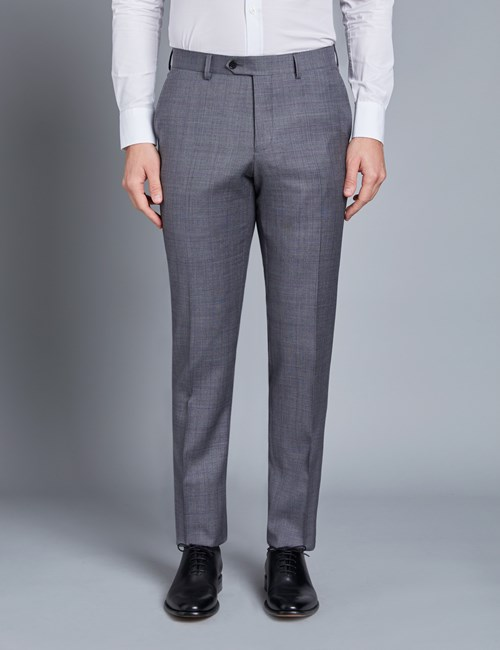 Men's Grey & Lilac Contrast Check Slim Fit Suit Trouser