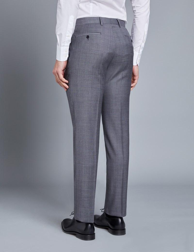 Men's Grey & Lilac Contrast Check Slim Fit Suit Trouser