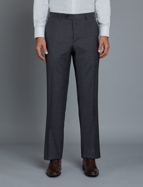 Men's Grey & Red Windowpane Check Classic Fit Suit Trousers
