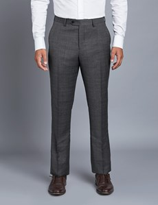 Men's Grey & Brown Prince of Wales Check Extra Slim Fit Suit Trousers