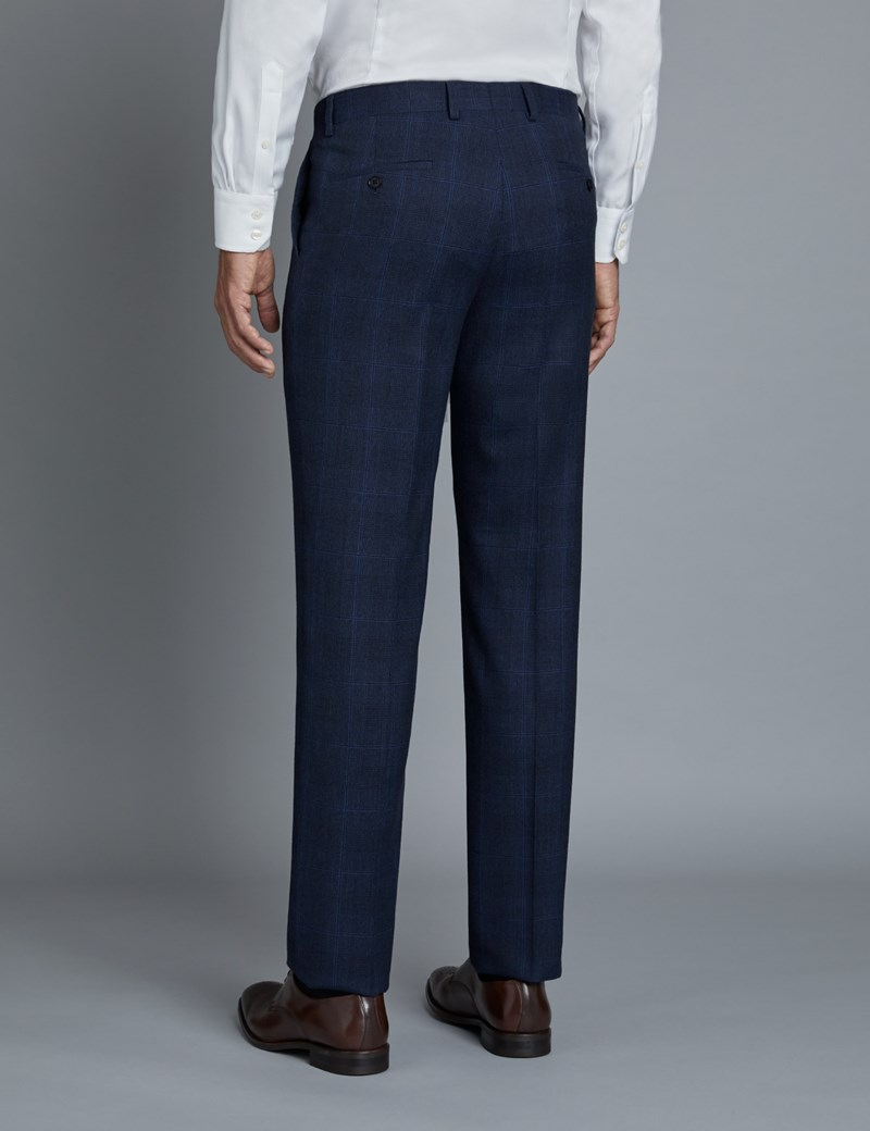 Men's Navy & Blue Prince of Wales Check Extra Slim Fit Suit Trousers