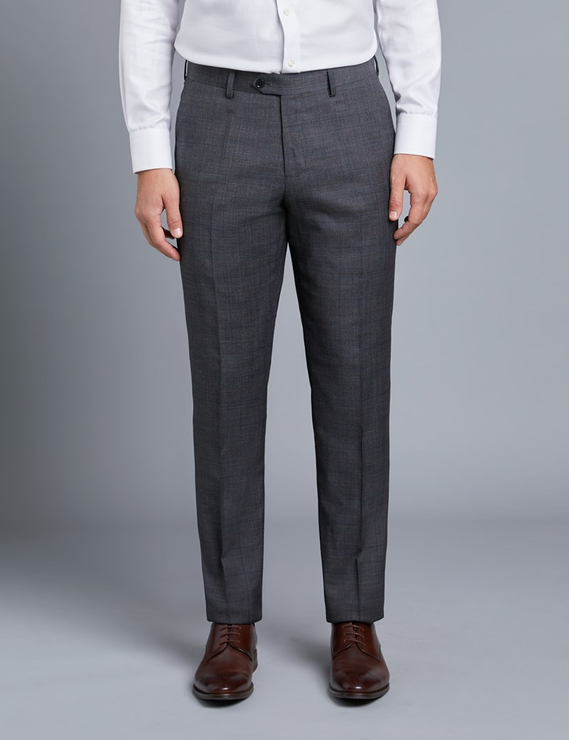 Men's Grey & Brown Prince Of Wales Check Slim Fit Trousers