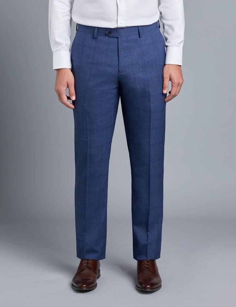 Men's Blue Check Slim Fit Suit Trousers