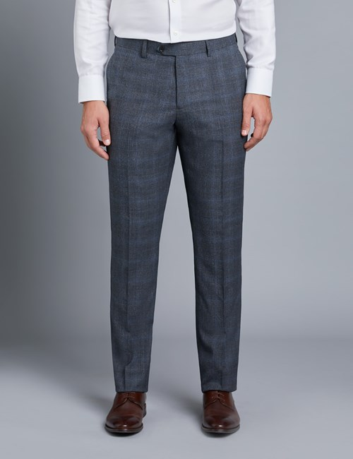 Men's Grey & Blue Check Slim Fit Flannel Suit Trousers