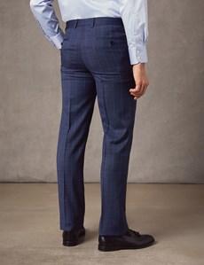 Anzughose - Extra Slim Fit - End-on-End blau kariert - 100s Wolle - Ohne Bundfalte - Vorderhose Gefüttert - Ungesäumt