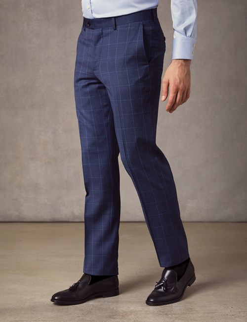 Men's Blue End On End Plaid Extra Slim Fit Suit Pants