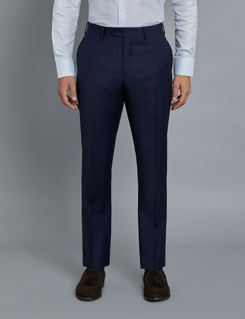 Men's Navy and Red Prince of Wales Plaid Slim Fit Suit Pants