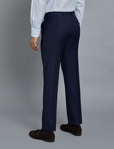 Men's Navy and Red Prince of Wales Check Slim Fit Suit Trousers