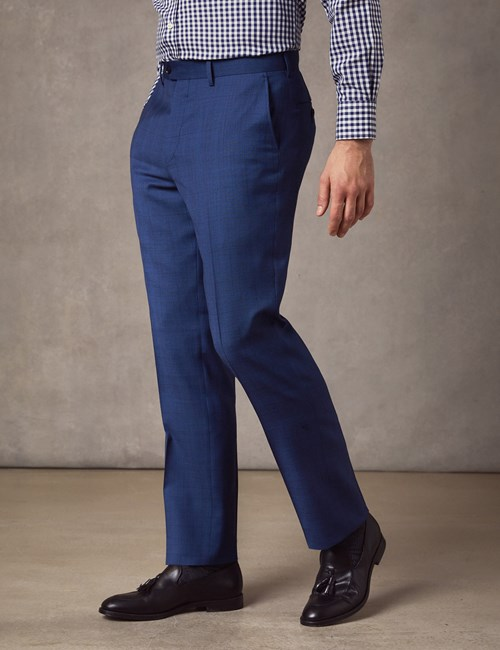 Men's Indigo Prince of Wales Check Slim Fit Suit Trousers