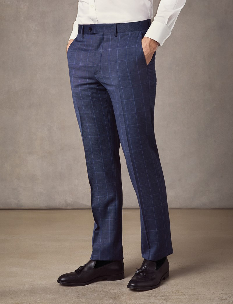 Men's Mid Blue End On End Check Slim Fit Suit Trousers