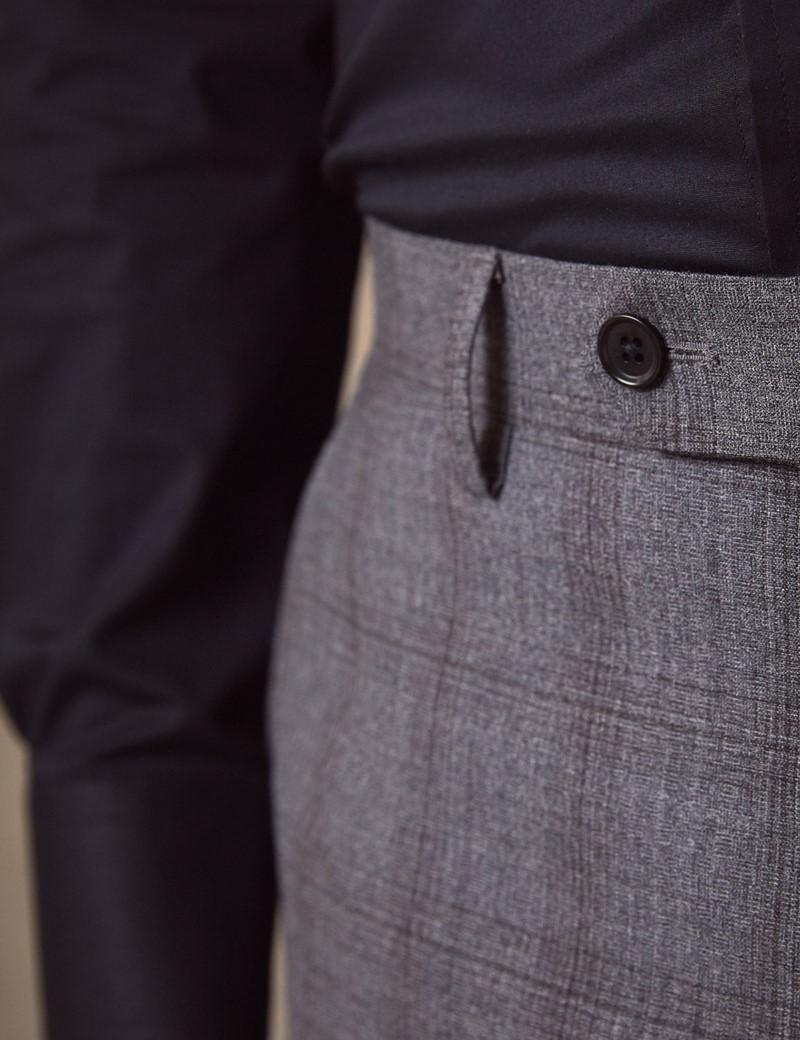 Anzughose - Classic Fit - Grau kariert - 100s Wolle - Ohne Bundfalte - Vorderhose Gefüttert - Ungesäumt