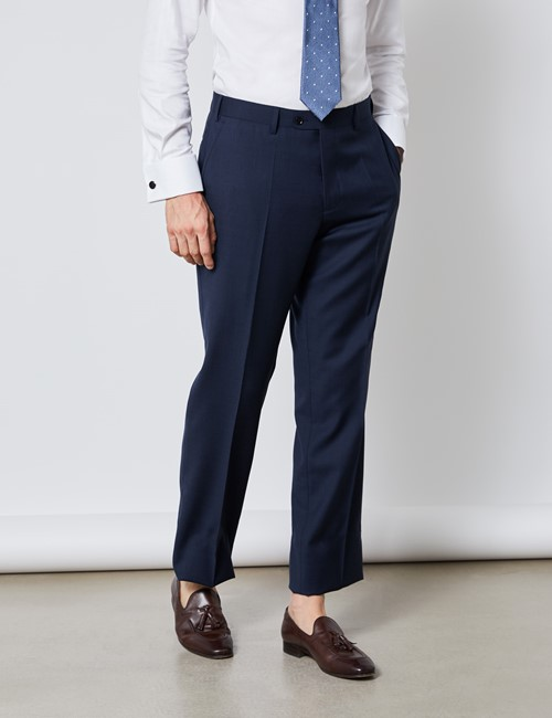 Men's Navy Tonal Check Classic Fit Suit Trousers