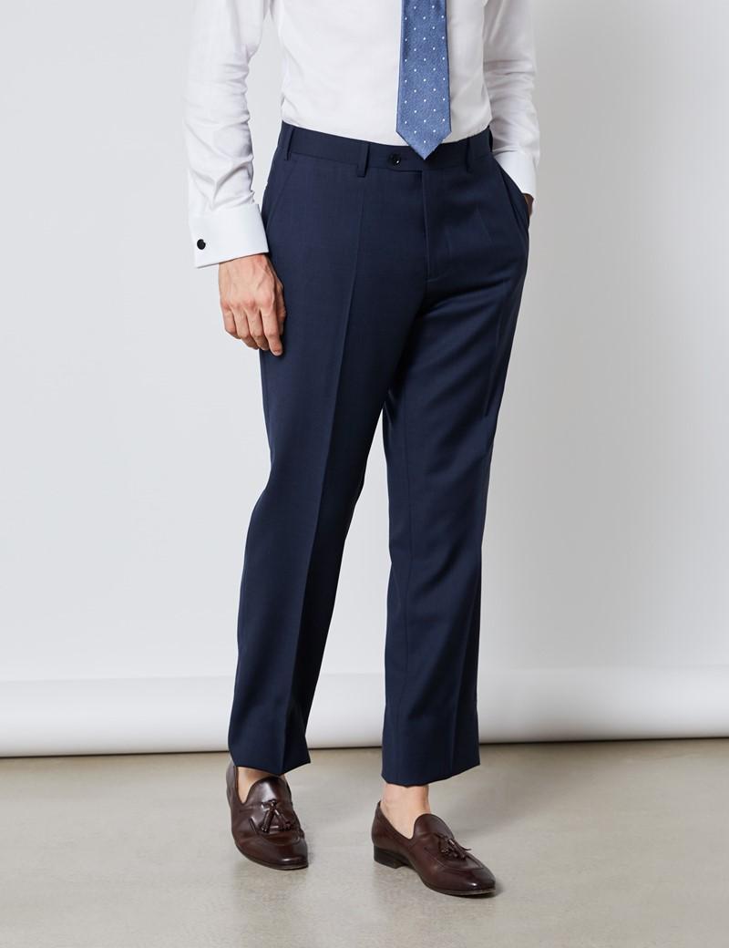 Men's Navy Tonal Plaid Classic Fit Suit Pants