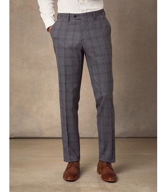 Men's Grey Tonal Prince of Wales Check Extra Slim Fit Suit Trousers